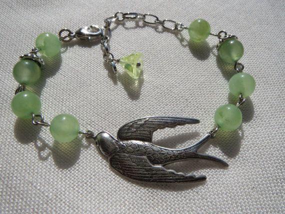 Soaring Bird Charm Bracelet  Silver Swallow  Green by Thielen, $16.95