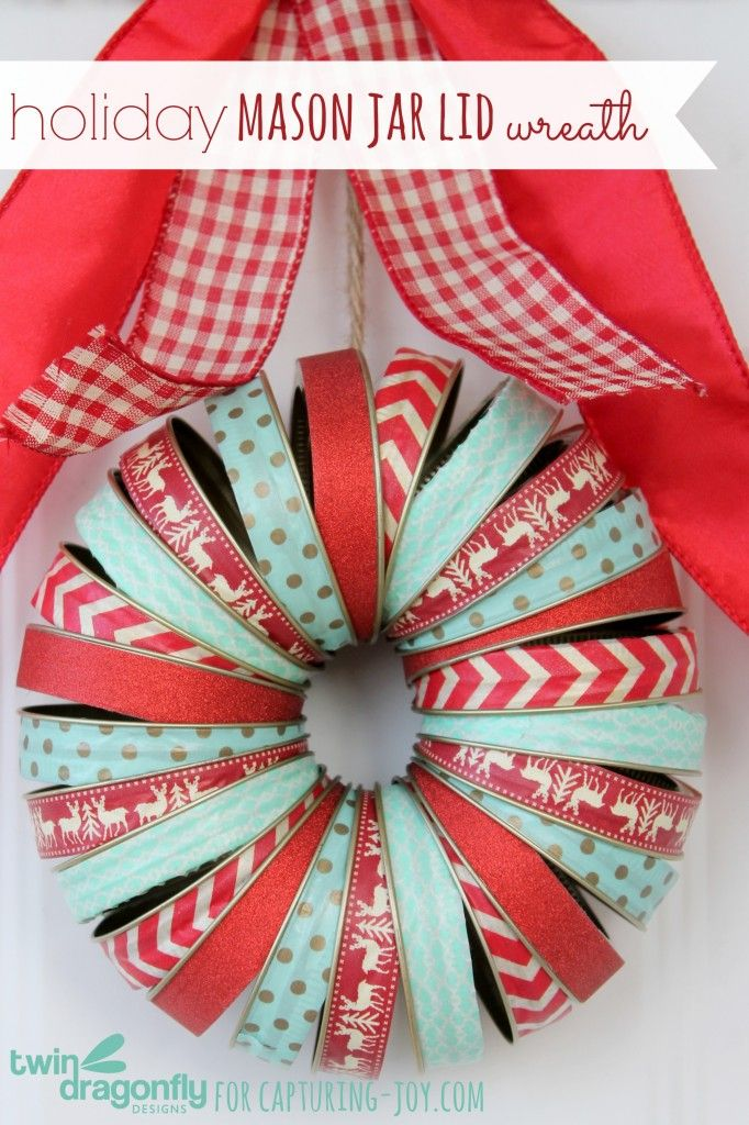 Holiday Mason Jar Washi Tape Wreath - this teal and red color combo will look great for your Christmas decor KristenDuke.com