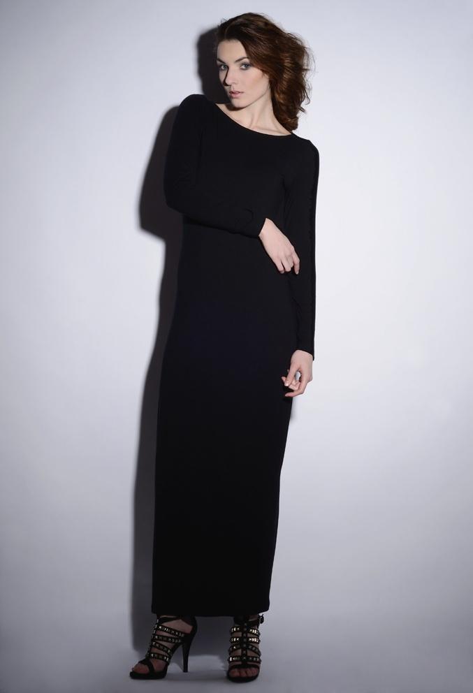 wawak/czajkowska  GIA GIA A/W 13/14  #black  #long  #dress  #slits  #longsleeves