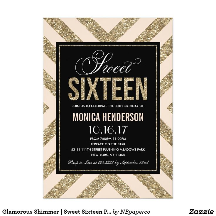 21 best GOLD SWEET SIXTEEN Invitations images – Glamorous Birthday Invitations