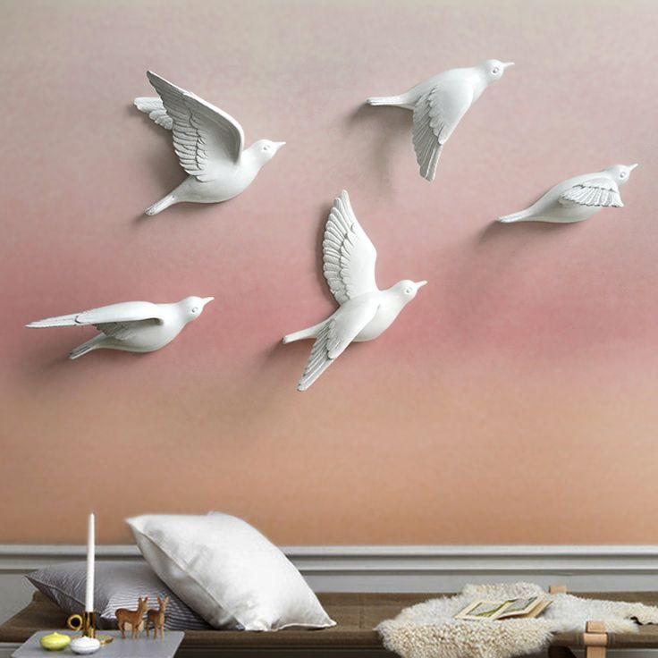 Купить товарСмоляные Фигурки Птиц Современные 3D наклейки стены Дома…