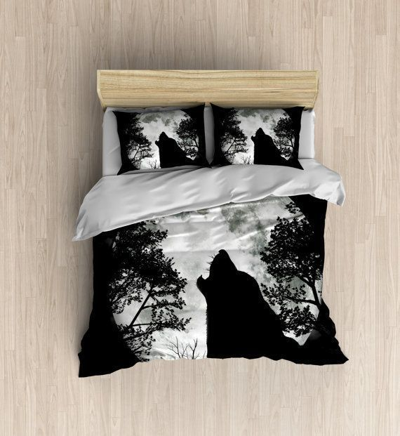Wolf Moon Bedding - Wolf Silhouette Duvet Cover, Moon Bedding Set, Modern Silhouette Decor, Black Duvet Set - Available in four different size ( #ModernLuxuryBedding