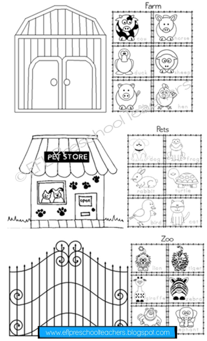 ESL farm animals worksheets. Sort the animals by pets, zoo