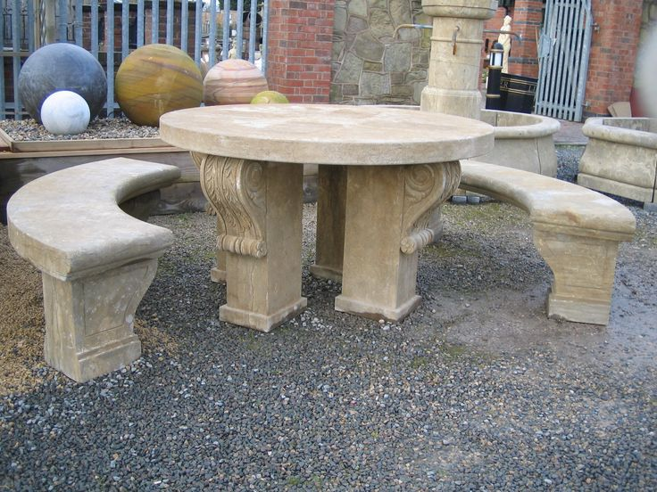 Attractive A Stone Table Set, Including 2 Large Curved Benches. Stunning Hand Carved  Detail Www