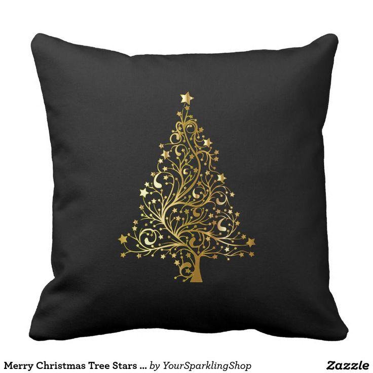 Merry #Christmas Tree Stars Black Gold Shiny Chic #Pillow