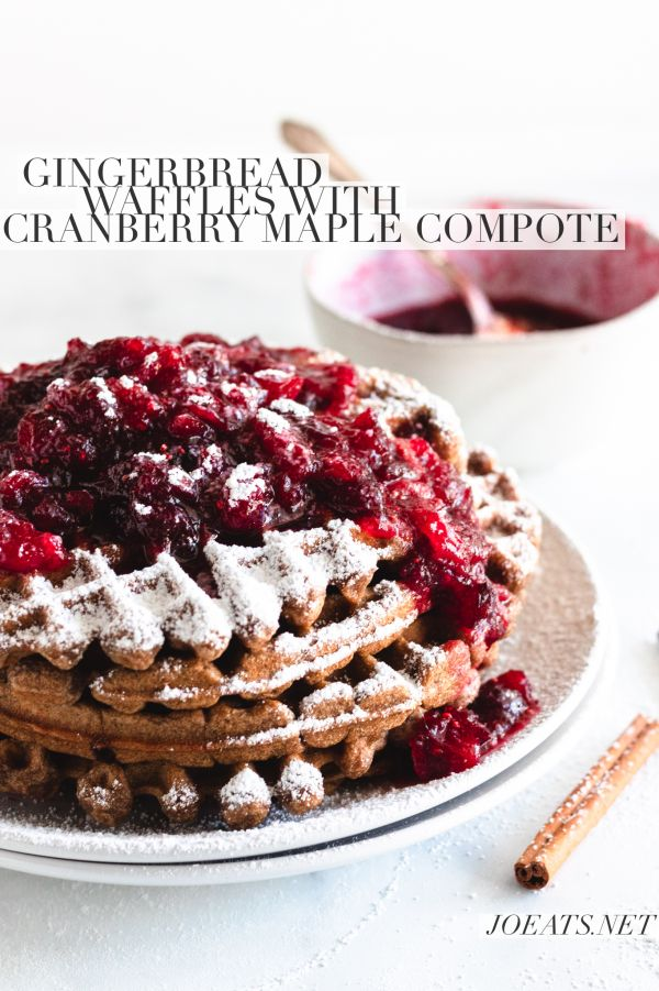 Gingerbread Waffles with Cranberry Maple Compote