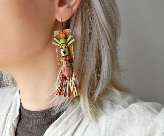 Boho tassel earrings Leather and beads earrings Bohemian