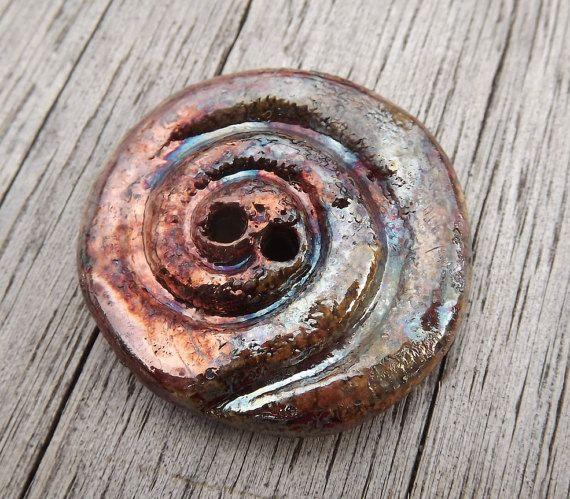 Ceramic Spiral Button1 2/8 32mm round button by BlueBirdyDesign