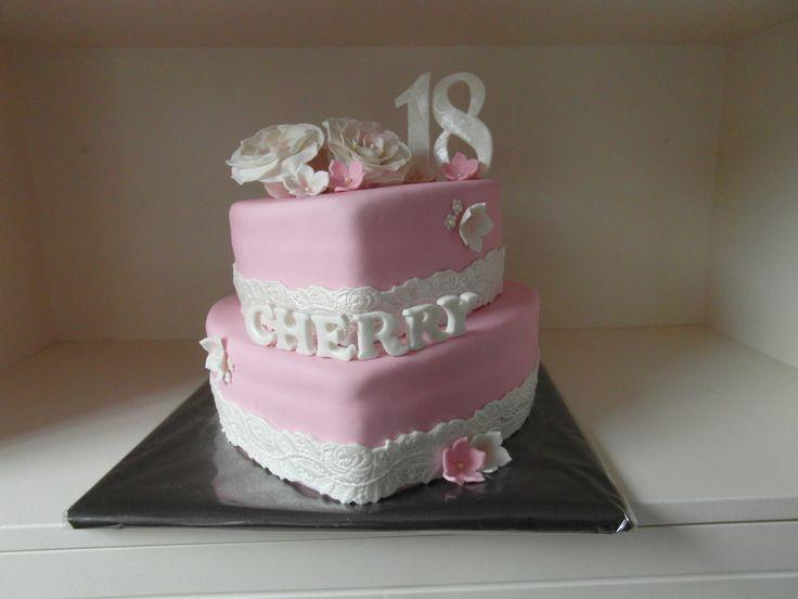 sweet 18 heart pink/white