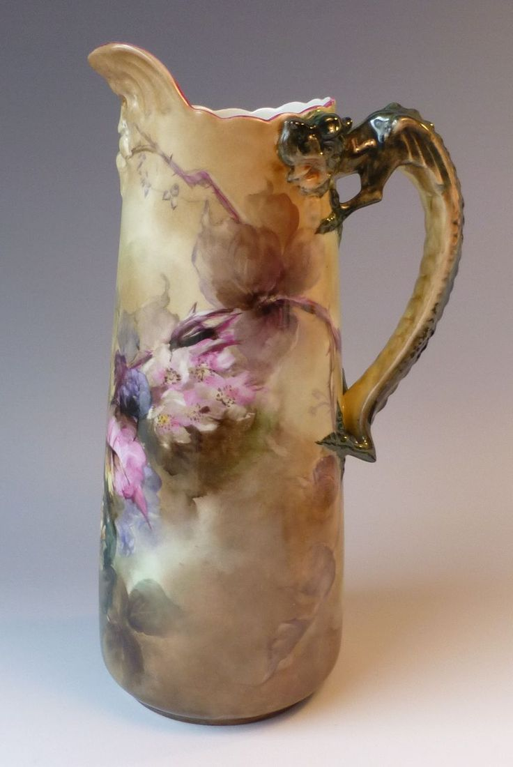 "Beautiful Hand Painted JPL Limoges 11-1/4"" Tankard Pitcher"