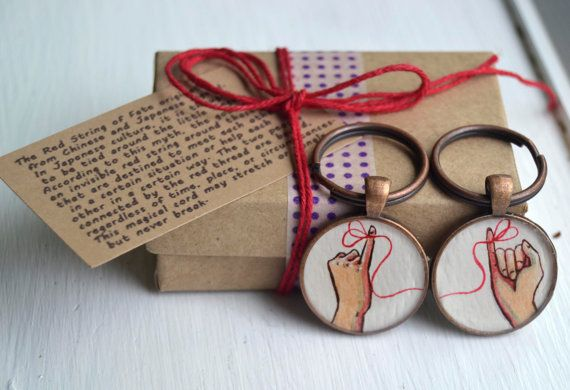 best friend key chain set  red string of fate by curiouscatfish, $36.00
