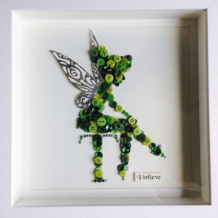 """Tinkerbell"" Button In A Frame."