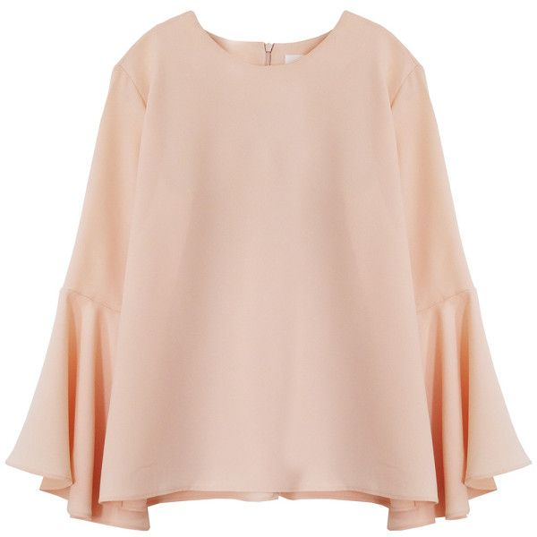 Cocoon Salmon Bell Sleeve Blouse (£75) ❤ liked on Polyvore featuring tops, blouses, light pink blouse, cream top, pink top, cream blouse and bell sleeve tops