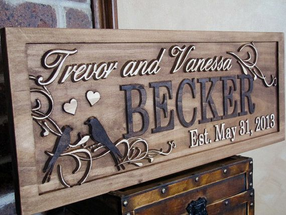 Personalized Family Name Signs custom wedding gift CARVED Wooden Sign Last name Wedding Established Anniversary custom personalized sign on Etsy, $74.99