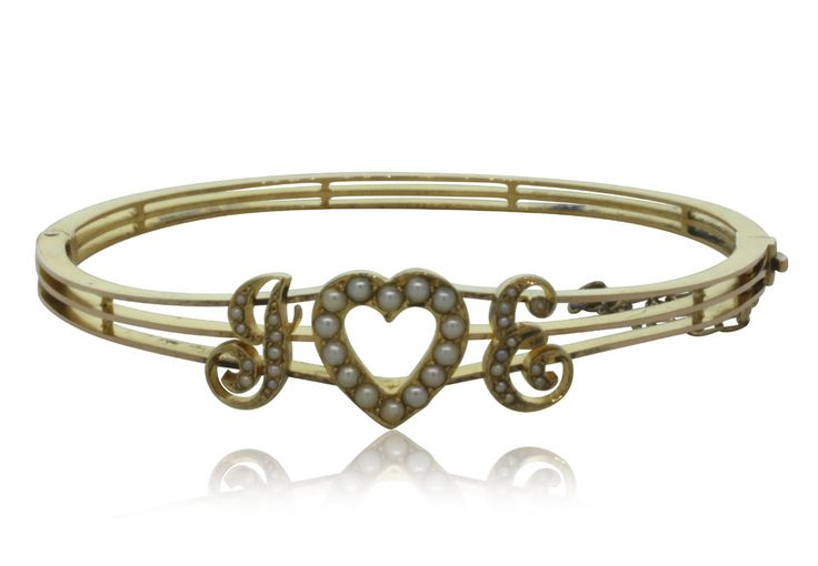Vintage 9ct yellow gold seed pearl bangle