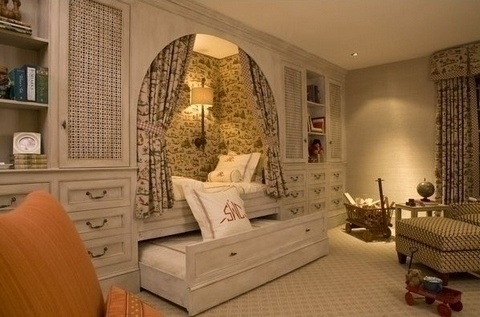 Alcove bed with trundle and built-in storage                                                                                                                                                                                 More