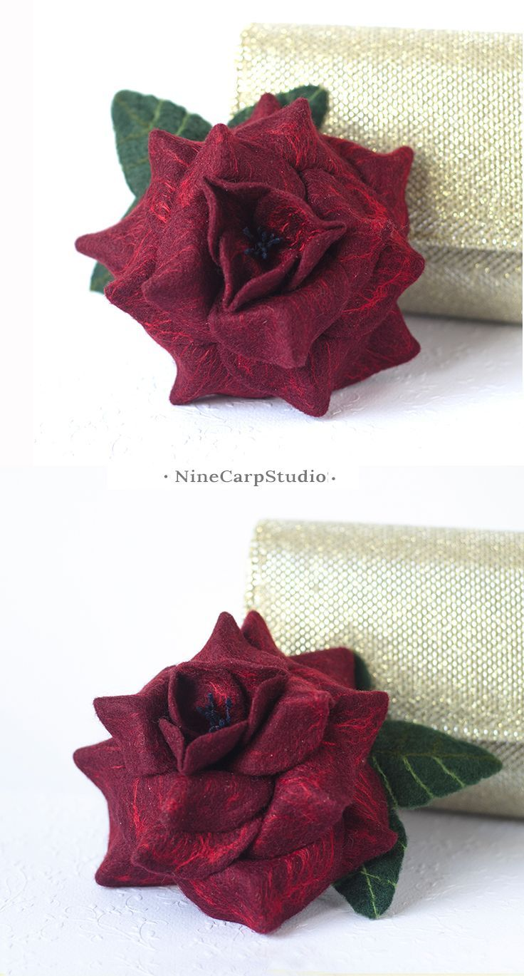 $34.92  Unique handmade jewelry gifts for Women | Felted wine red rose brooch by NineCarpStudio | Tawny port - Trendy colors autumn winter 2017 | Christmas gift idea for wife #unique #handmade #jewelry