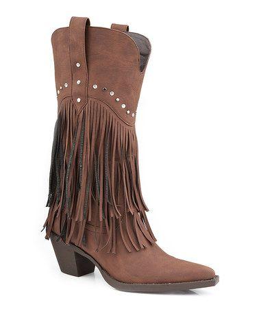 Look what I found on #zulily! Brown Fringe Cowboy Boot #zulilyfinds