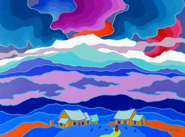 """Lone Woman with Ravens"" - Ted Harrison, 1991 by Yukon Arts Centre, via Flickr"