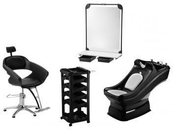 Cadeira para Salão de Beleza Hidráulica - Dompel Primma + Lavatório + Bancada + Carrinho