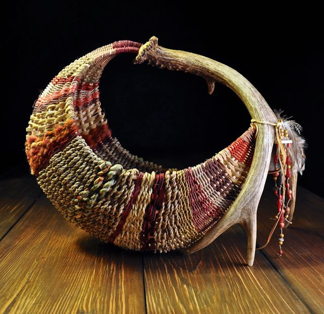 Basket Weaving Qld : Handmade antler rib baskets woven by mark hendry for
