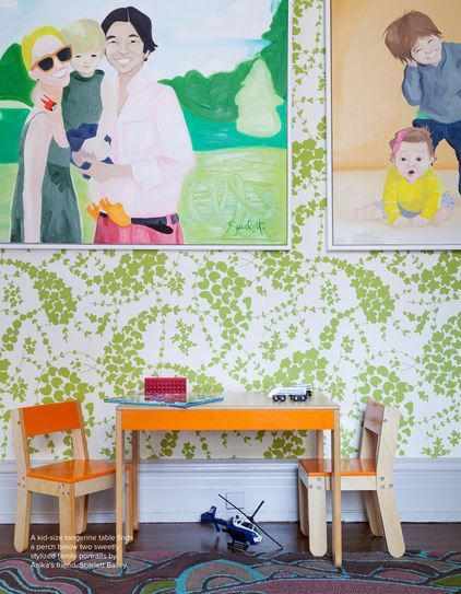 Playroom. Wallpaper: China Seas Lysette, Art by Scarlett Baily - Lonny