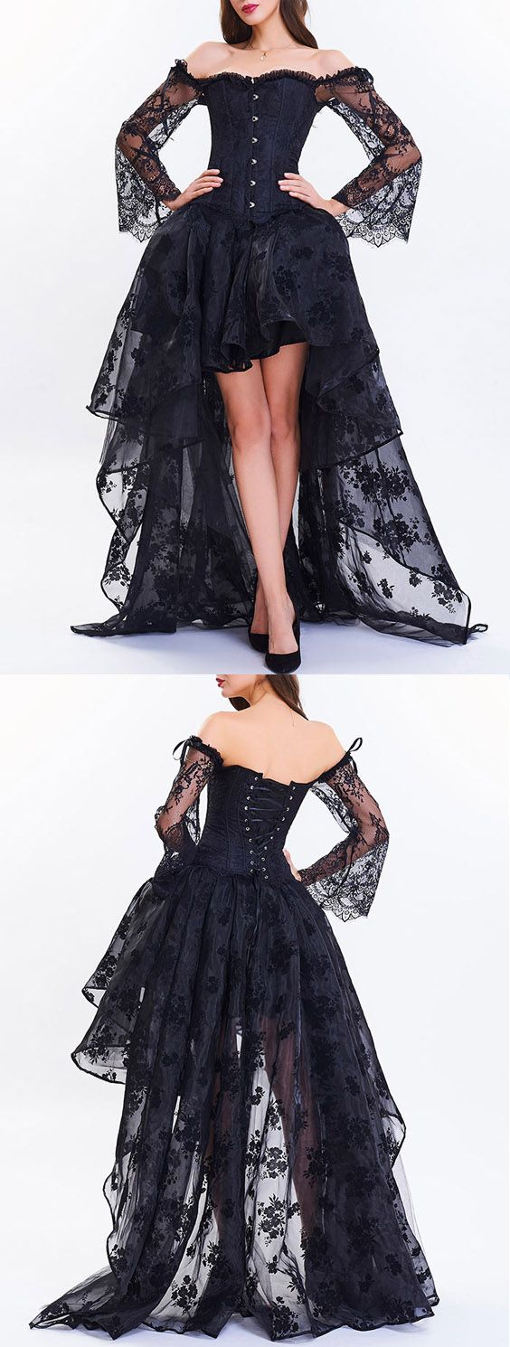 Long Sleeve Corset Top with High Low Skirt