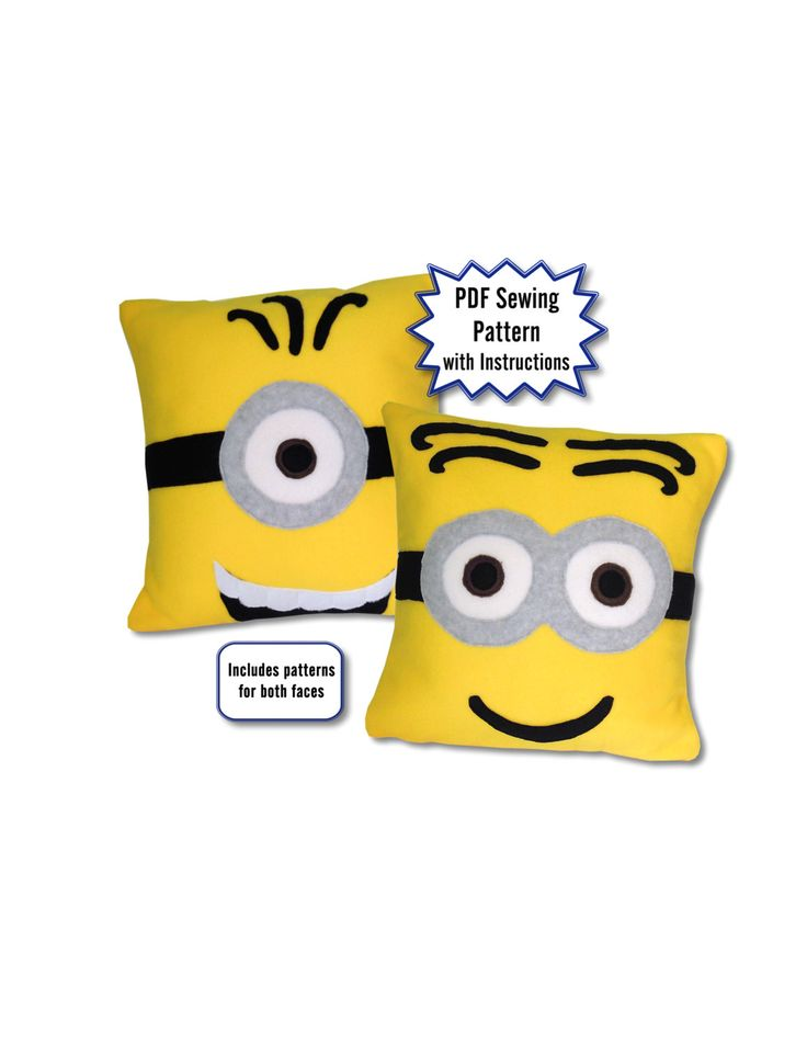 Minions Pillow PDF Pattern, Minions Movie and Despicable Me by PatternsOfWhimsy on Etsy #minions #pdfpattern #sewing