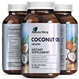 2000 mg Capsules Pure Extra Virgin Coconut Oil- Fat Burner Softgel Pills with Essential Fatty Acids  source of MCT  Supplement for Natural Energy  Weight Loss  Skin  Hair  Nature Berg