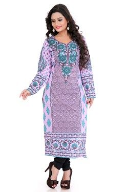 Kurtis,Admyrin,Light Pink Cambric Cotton Block Printed Kurti
