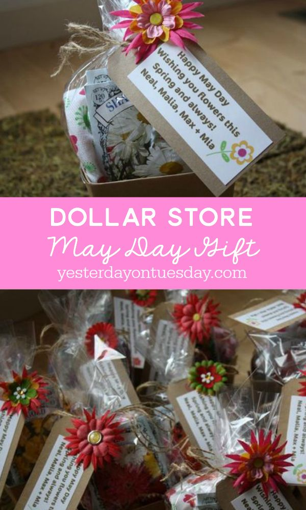 Dollar Store May Day Gift Idea, create a darling and budget friendly May Day gift with stuff from the Dollar Store. Frugal and thoughtful!