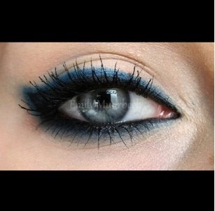 Dark blue eyeliner, smoked out eyeliner.