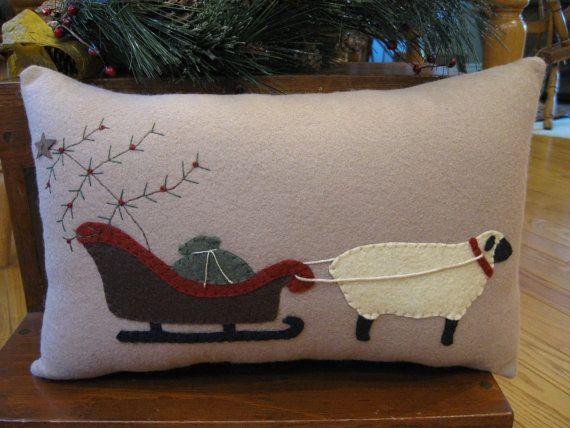 Christmas Sheep Pulling Sleigh Applique Pillow by Justplainfolk