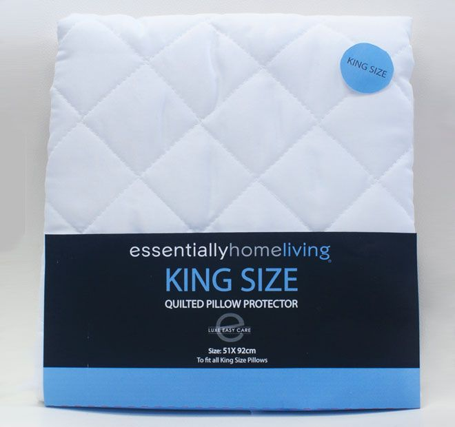 Quilted King Size ESSENTIALLY HOME LIVING  Features: 100% microfibre Lofty polyester fill Diamond quilted Zip closure Easy care Protects your pillow from moisture  Dimensions: x1 King Pillow Protector - 51cm x 91cm - #protectors