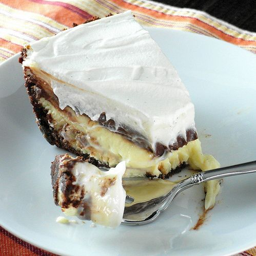 This chocolate cheese pie was my brother's favorite pie. Mom used to make it for all his birthday dinners. My only slightly modified version has a chocolate crumb crust, a vanilla cheesecake layer, a thick layer of ganache and sweet sour cream topping. This is comfort food and celebration food all wrapped into one. I hope you enjoy this chocolate cheese pie recipe! | pastrychefonline.com