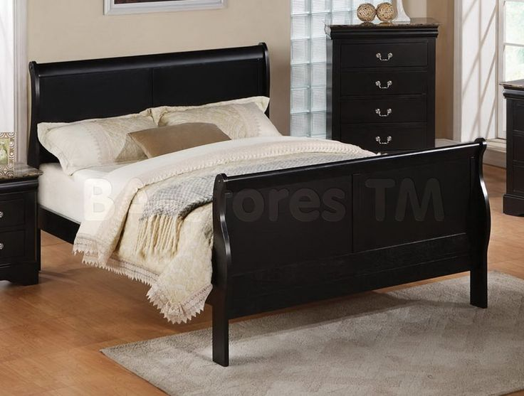 Black Sleigh Bed Frame Cheap Vermont Black Or Brown Faux