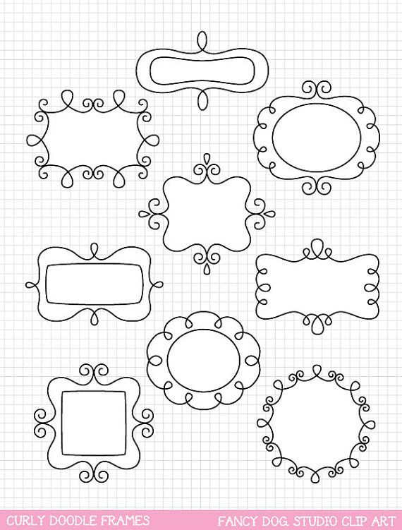 SALE  60 OFF  Clip Art Doodle Frames Digital by PaulaKimStudio, $1.60