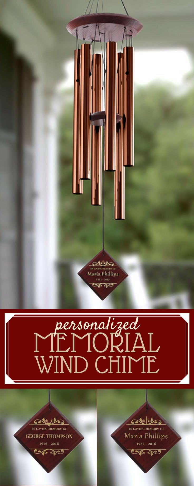This personalized Memorial Wind Chime is such a beautiful way to remember a loved one who has passed away. This is just beautiful because you'll be remembered of your loved one every time the wind blows! You can choose a heart or cross design and have it engraved with any name and memorial dates.