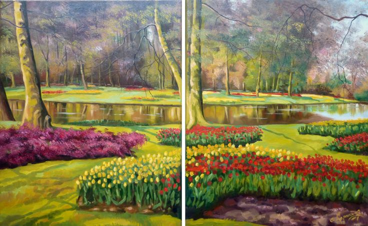 20% OFF SALE! DIPTYCH Oil Painting | Painting on Canvas | Landscape Painting | Original Painting | Classic Painting | Home Decor by OliviaArtGallery on Etsy