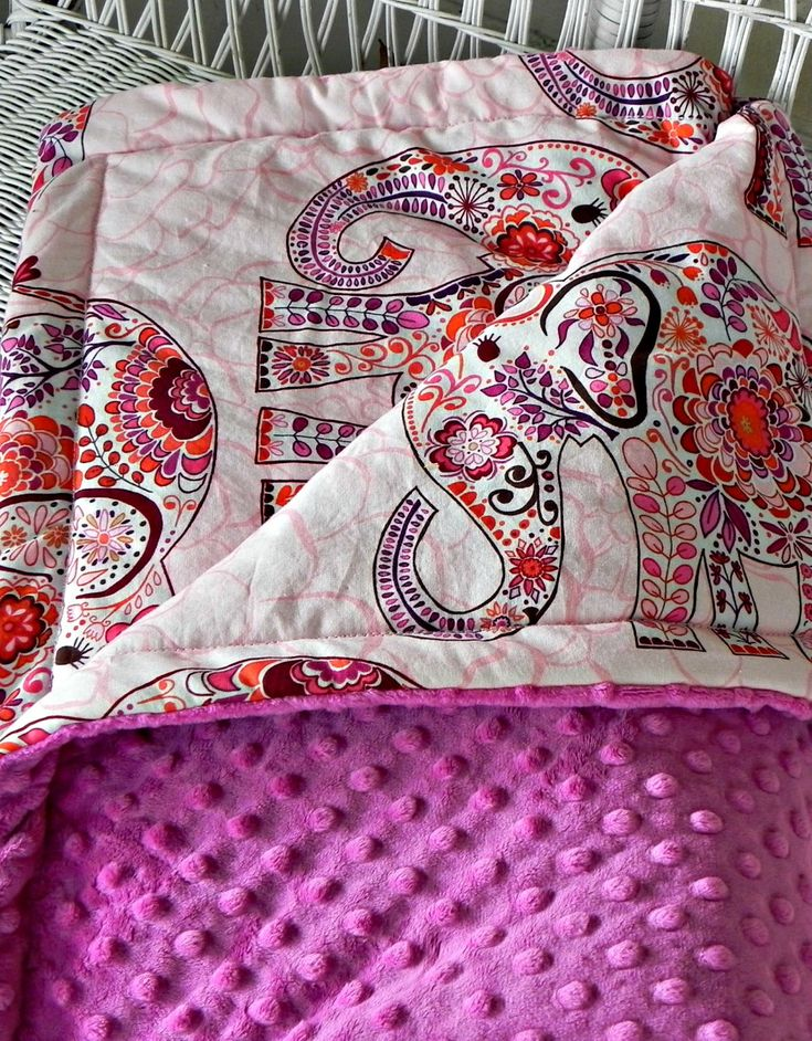 Elephant toddler minky blanket blossom pink fabric with for Space minky fabric