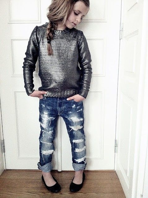 Love the jeans!!   Moms: You could do this yourself to a pair that is just about too small to use in their photo session to add some extra styling!