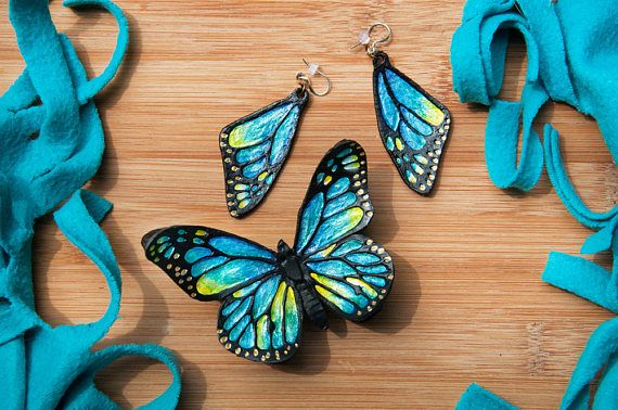 BLUE BUTTERFLY BRACELET and earrings set leather hair pin