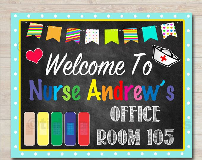 School Nurse Door Sign, Pediatric Nurse Door Sign, Back to School, Nurse Door Hanger, Nurse Office Decor, Nurse Art, Personalized Nurse Sign