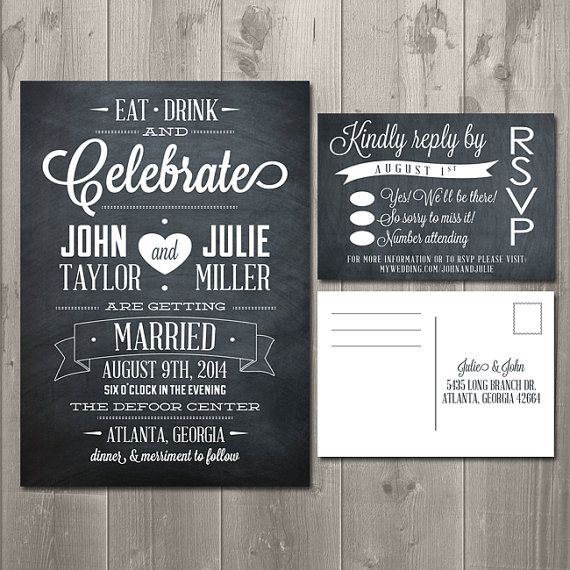 Eat Drink And Celebrate Chalkboard Wedding Invitation Suite Diy Printable Rsvp Card 30 00 Invitations Pinterest
