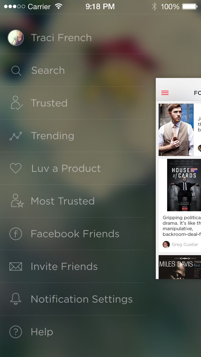 New side bar navigation for iOS 7 as seen in the  Luvocracy App.