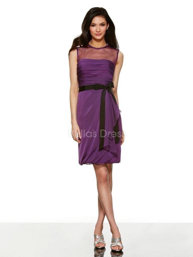 Superb Sheath Column Sleeveless Illusion Jewel Neckline Chiffon Natural Waist Bridesmaids Dress Short Bridesmaid DressesWedding Guest