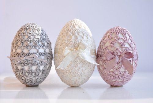 Crochet lace eggs