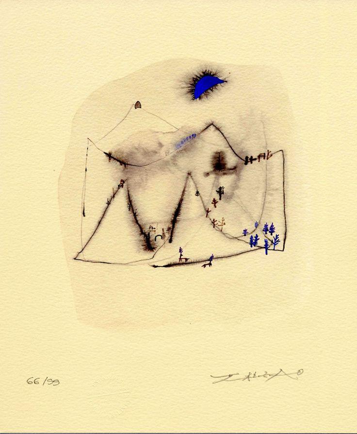 Zao Wou-Ki, Blue Moon, Stencil Etching on Paper, 2006  via: bernardchauveau-editeur.fr