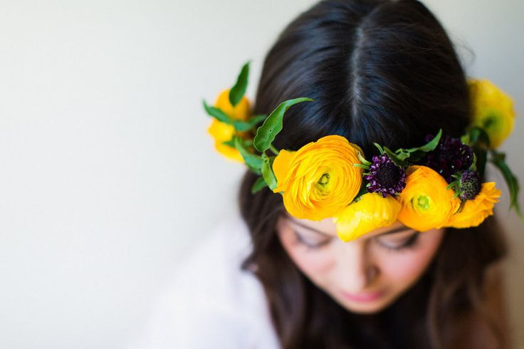 Project by Janie Medley  Photos by Alisandra Photography        Add a bohemian edge to your bridal look with this gorgeous DIY floral crown!        Ingredients:   Jasmine Vine  Ranunculus  Black Scabiosa  Floral Tape  Scissors   How To:        Step One: Cut the stems of the flowers to the desired length, you need about ½ stem to work with.          ...