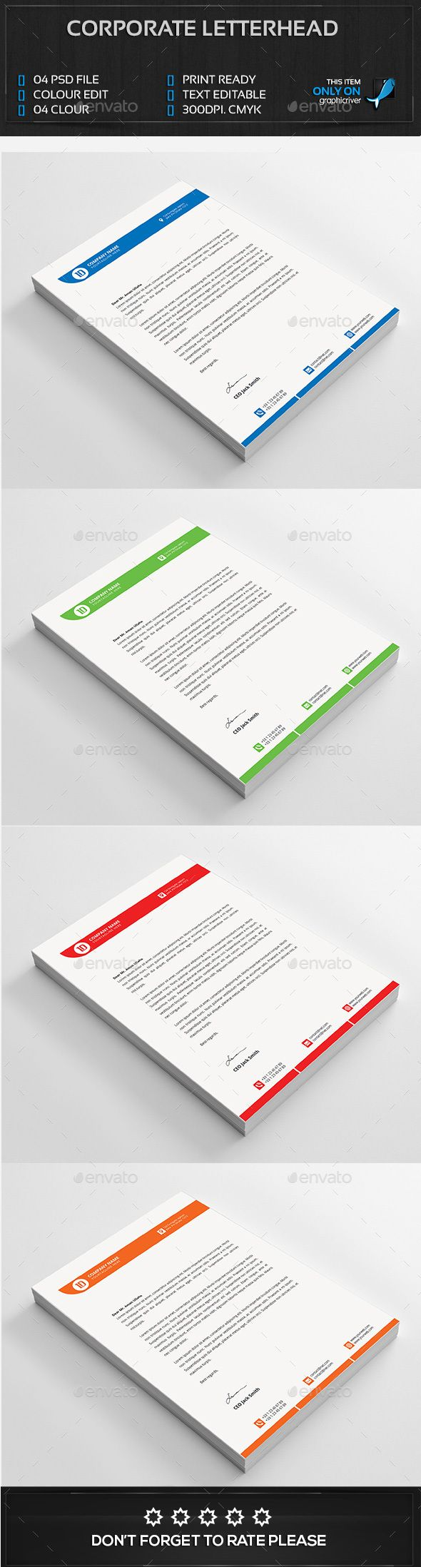 #Corporate Letterhead FEATURES - Stationery Print Templates Download here: https://graphicriver.net/item/corporate-letterhead-features/14526678?ref=classicdesignp
